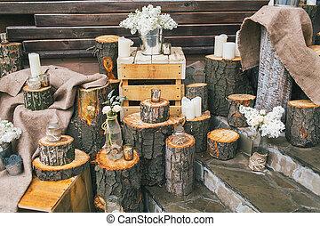 arr, ライラック, 無作法, 切り株, 結婚式, 飾られる, 階段, 装飾