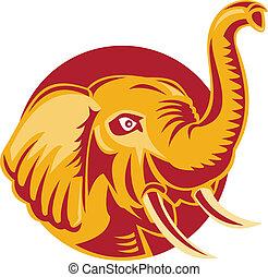 arrabbiato, africano, testa, retro, elefante