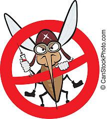 arrabbiato, avvertimento, -, zanzara, segno