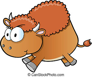arrabbiato, bufalo, illustrazione, vettore