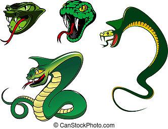 arrabbiato, cartone animato, caratteri, serpente