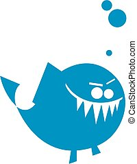 arrabbiato, cartone animato, icona pesci
