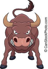 arrabbiato, cartone animato, toro