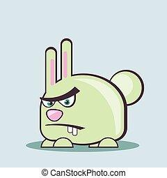 arrabbiato, coniglietto, icona