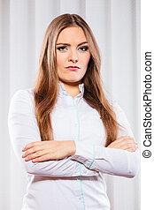 arrabbiato, donna affari, con, attraversato, arms.