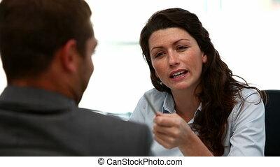 arrabbiato, donna d'affari, durante, riunione