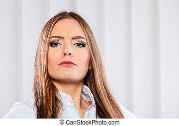 arrabbiato, e, irritato, donna affari, in, ufficio.