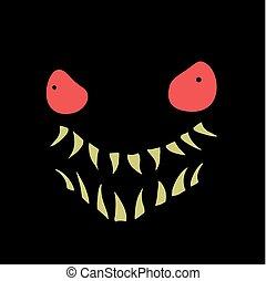arrabbiato, espressione, mostro