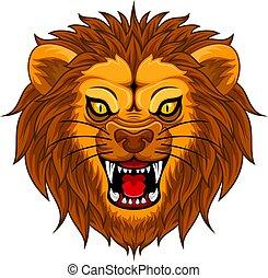 arrabbiato, faccia, leone, illustrazione, mascotte