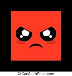 arrabbiato, faccia, rosso, icona