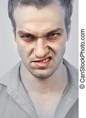 arrabbiato, faccia, uomo
