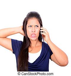arrabbiato, giovane, uomo affari, gridare, su, il, telefono mobile, mentre, isola