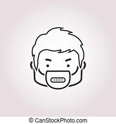 arrabbiato, icona, sfondo bianco, faccia