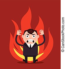 arrabbiato, infelice, uomo affari, impiegato, character.,...