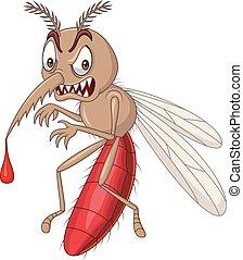 arrabbiato, isolato, zanzara, fondo, bianco, cartone animato
