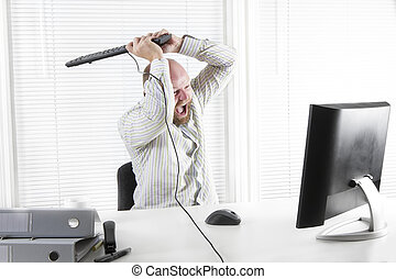 arrabbiato, lavoratore, attacco, ufficio, monitor