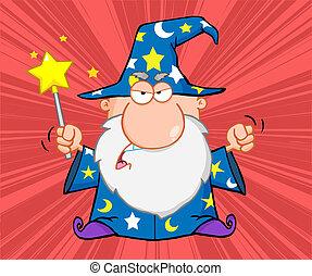 arrabbiato, mago, con, bacchetta magica