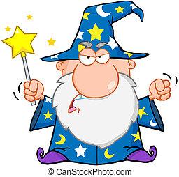 arrabbiato, mago, ondeggiare, con, bacchetta magica