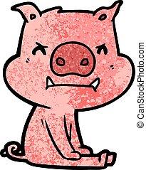 arrabbiato, maiale, cartone animato, seduta