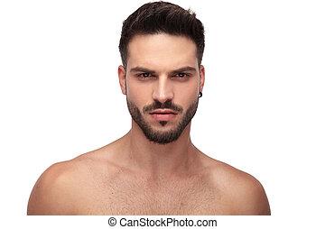 arrabbiato, monokini, dall'aspetto, attraente, tipo, barba