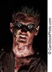 arrabbiato, mostro, marrone, camicia, zombie