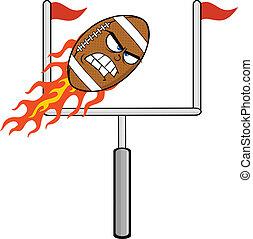 arrabbiato, palla, fiammeggiante, football