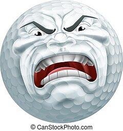 arrabbiato, palla golf, sport, cartone animato, mascotte