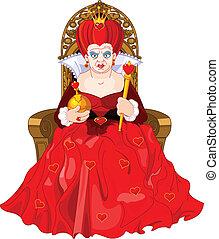 arrabbiato, regina, su, trono