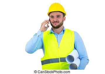 arrabbiato, scombussolare, giovane, telefono, costruzione, yeling, ingegnere
