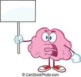 arrabbiato, su, segno, cervello, presa a terra, vuoto