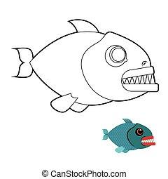 arrabbiato, teeth., fish, mare, piranha, book., coloritura, marino, creature., fondo., grande, terribile, predatore, bianco