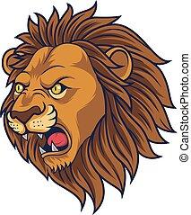 arrabbiato, testa, leone, mascotte