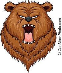 arrabbiato, testa, orso, mascotte