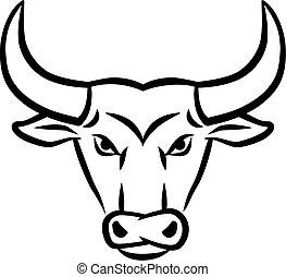 arrabbiato, testa, toro