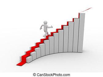 arrampicarsi, 3d, scala, uomo