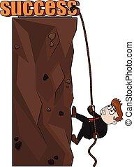 arrampicarsi, affari, successo, uomo