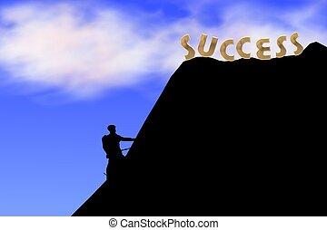 arrampicarsi, il, collina, di, successo