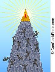 arrampicarsi, persone, tentare, success., cima