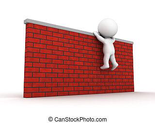 arrampicarsi, tentando, parete, uomo, 3d