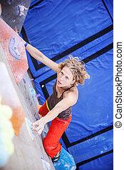arrampicatore muro, femmina, artificiale