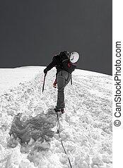 arrampicatore, nevoso, femmina, ascendente, slope.