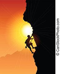 arrampicatore, roccia