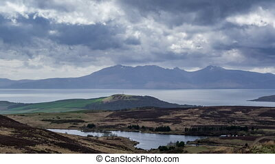 Arran Mountains and storm clouds time-lapse - Timelapse clip...