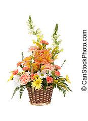 arrangé, divers, fond, panier, fleurs blanches