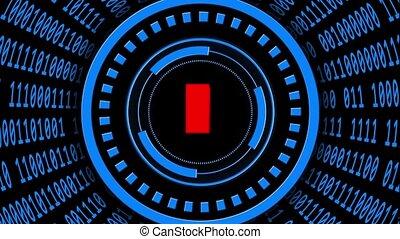arrangé, forme, mouvement, tourner, intelligence, ai, résumé, -, varier, lettres, éléments, cylindre, code, binaire, fond, vitesse, artificiel, aussi, hud