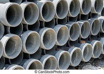 Arrange cement pipe