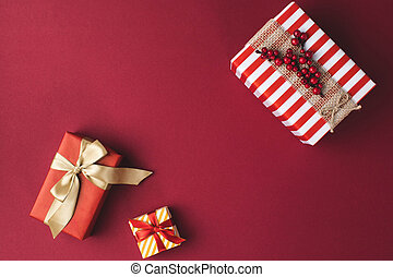 arranged christmas gift boxes