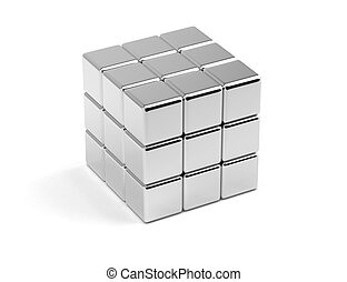 Arranged Cubes - Arranged metallic cubes on white background