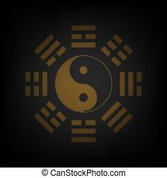 arrangement., bagua, bombilla, luz, icono, naranja, señal, ...