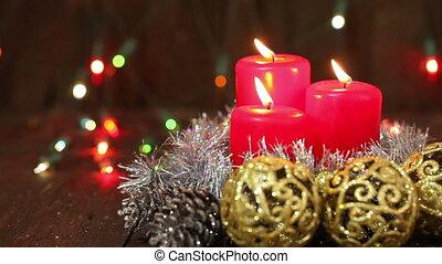 arrangement., bougies, noël, brûlé
